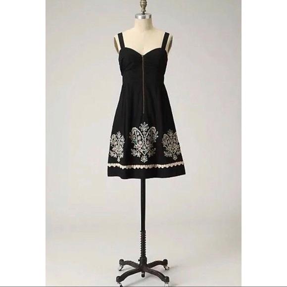 Anthropologie Dresses & Skirts - FLOREAT Sanora Black Floral Embroidered Dress
